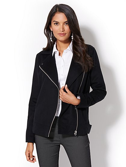 Zip Wool-Blend Moto Jacket - New York & Company