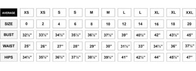 Image result for NEW YORK & COMPANY AVERAGE SIZE CHART