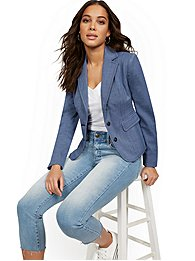 New York & Company Womens Topstitched 2-Button Jacket