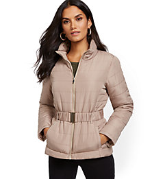Deals on NY Deal Belted Puffer Jacket