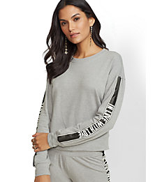 Deals on New York & Company Grey In Love with Love Sweatshirt