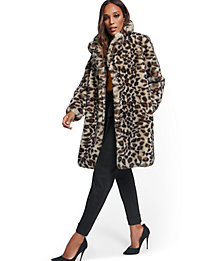 NY&Company Leopard-Print Faux-Fur Women's Coat