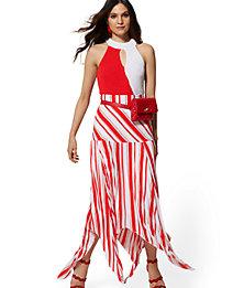 NY&C Petite Stripe Pleated Handkerchief-Hem Skirt