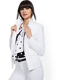NY&C White One-Button linen Blend Jacket