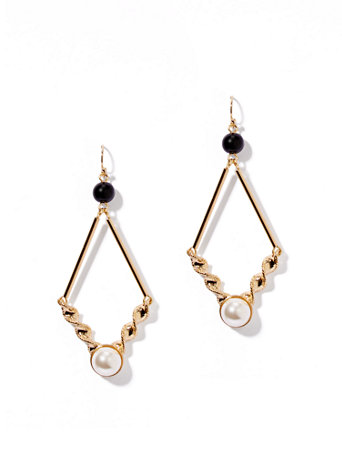 Diamond-Shape Drop Earrings The perfect partner for your LBD or suiting style, these geo drop earrings set a modern tone with sleek and textured goldtone bars, highlighted by faux-pearl beads.   overview   Fish-hook closure.  Earring drop: 3 inches.  Mixed metal, glass, acrylic.  Imported.