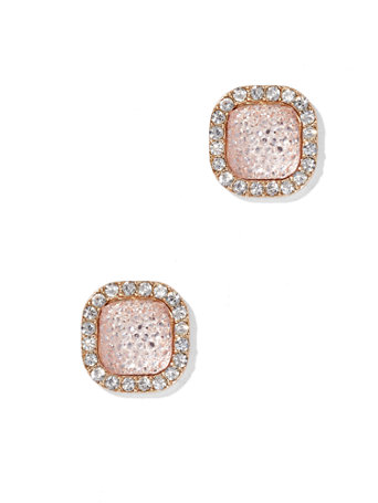 Shimmering Square Post Earring Pink perfection: a pale rose hue exudes soft, feminine style on our elegant goldtone post earring, framed with sparkling accents.   overview   Post backing.  Mixed metal.  Imported.