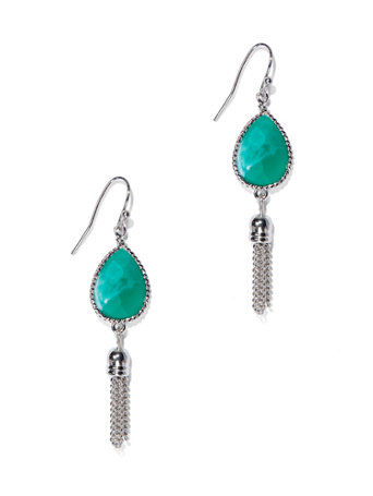 Teardrop Tassel Earring  Teardrop-shaped faceted faux turquoise stones and tassels lend an on-trend, Southwestern-inspired look to our striking polished silvertone earrings.   overview   Fish-hook backing.  Earring drop: 1-3/4 inches.  Mixed metal.  Imported.