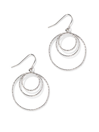 Textured Hoop Drop Earring Textural embellishment and a triple-row silhouette make our polished silvertone hoop drop earring a style standout!   overview   Fish-hook backing.  Earring drop: 1-1/4 inches.  Mixed metal.  Imported.