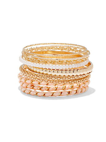 10-Piece Bangle Set  The possibilities are endless! With a combination of faux pearl, beaded and textured styles, our elegant goldtone bangle set offers an array of options for mixing and matching.   overview   Bangle bracelet.  Bracelet width: 3 inches.  Mix metal.  Imported.
