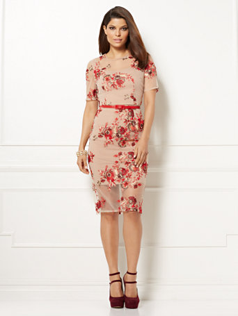 Eva Mendes Collection - Jasmine Sheath Dress Beautifully in bloom: a floral motif infuses Eva's chiffon-overlay Jasmine Sheath Dress with feminine flair. From the exclusive Eva Mendes Collection.   overview   Crewneck.  Darts at bustline.  Slider belt at waist.  Shorter lining.  Shirring at shoulders.  Keyhole at back neckline.  Invisible center back zipper.  Back vent.  Short sleeve.    fit & sizing   Straight silhouette.  Center back length: 43-1/2 inches.    fabric & care   100% Polyester.  Hand Wash or Dry Clean.  Imported.