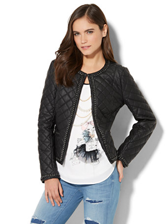Chain Link-Trim Quilted Faux-Leather Jacket Polished silvertone chain-link trim adds an edgy accent to our perennially chic quilted jacket.   overview   Open front with hook-and-eye closure at front neck.  Front pockets.  Chain-link trim at neckline, sleeves, pocket and hem.  Princess seams on front and back.  Lined.  Long sleeve.    fit & sizing   Hits at hip.    fabric & care   Shell: 100% PU.  Lining: 100% Polyester.  Machine Wash or Dry Clean.  Imported.