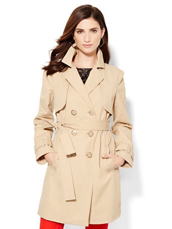 7th Avenue - Trench Coat  Make a timelessly stylish, sophisticated style statement in our essential belted trench coat. Polished goldtone-trimmed tonal buttons complete the look as a refined accent.   overview   Convertible collar.  Double-breasted button closure.  Self-tie belt at waist with belt loops.  Front slant pockets.  Back storm flaps.  Fully lined.  Long fitted sleeve.    fit & sizing   Shoulder to hem length: 33-1/2 inches.    fabric & care   Shell: 53% Cotton, 44% Nylon, 3% Spandex.  Lining: 100% Polyester.  Machine Wash or Dry Clean.  Imported.