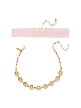 2-Piece Floral Choker Necklace Set