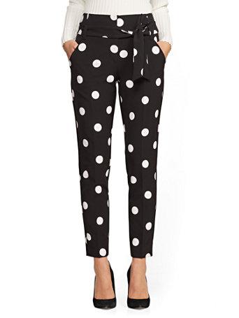 7th Avenue   Black & White Polka Dot Madie Pant by New York & Company