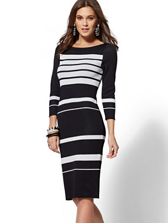 7th Avenue   Black & White Stripe Sweater Dress by New York & Company