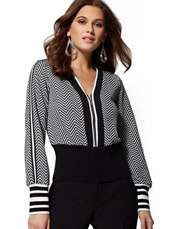 7th Avenue   Black & White Zip Front Jacket by New York & Company
