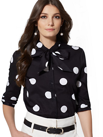 7th Avenue   Dot Print Bow Accent Madison Stretch Shirt by New York & Company