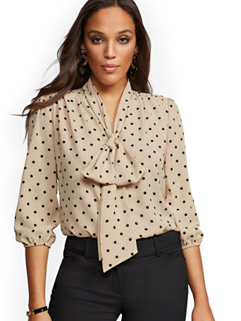 7th Avenue   Dot Print V Neck Bow Blouse by New York & Company