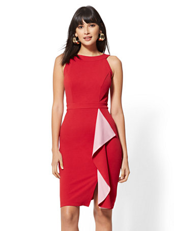 2e7abe8915 NEW YORK   COMPANY. 7TH AVENUE - DRAPED HALTER SHEATH DRESS
