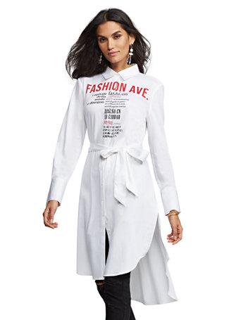 "7th Avenue   ""Fashion Avenue"" Poplin Tunic Shirt by New York & Company"