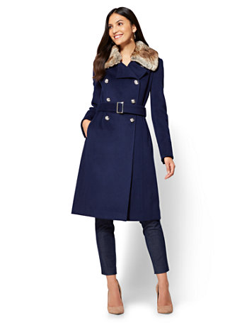 7th Avenue - Faux-Fur Trim Wool Coat