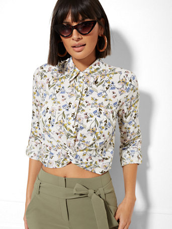 7th Avenue   Floral Twist Front Crop Shirt by New York & Company