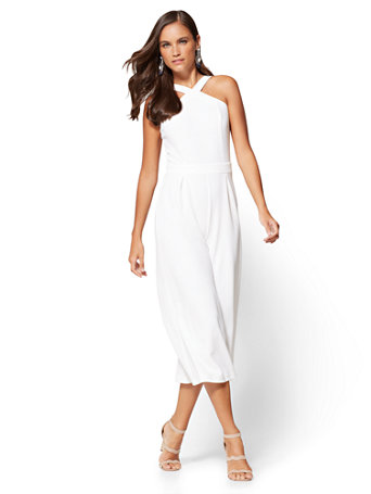 Nyc 7th Avenue Halter Culotte Jumpsuit White