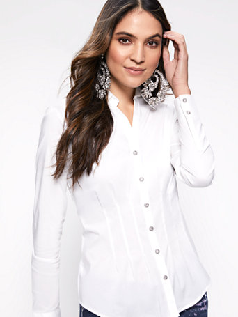 7th Avenue   Jeweled Madison Stretch Shirt by New York & Company
