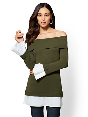 7th Avenue Olive Off-The-Shoulder Twofer Sweater