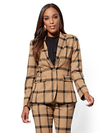 7th Avenue   Petite Plaid Two Button Jacket by New York & Company