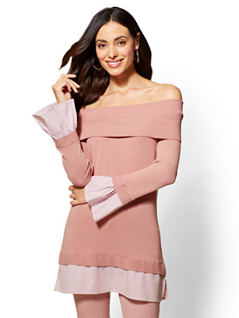 7th Avenue Pink Off-The-Shoulder Twofer Sweater