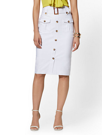 7th Avenue   White Button Front Pencil Skirt by New York & Company
