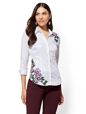 7th-avenue---white-floral-madison-stretch-shirt by new-york-&-company