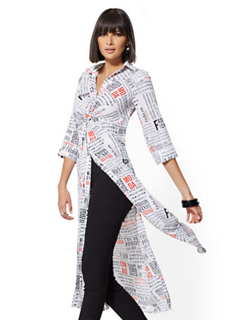 7th Avenue   White Newsprint Maxi Shirt by New York & Company