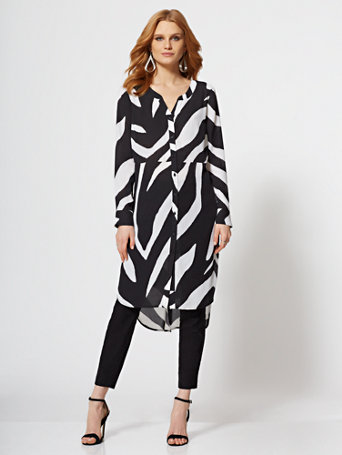 7th Avenue   Zebra Print Maxi Shirt by New York & Company