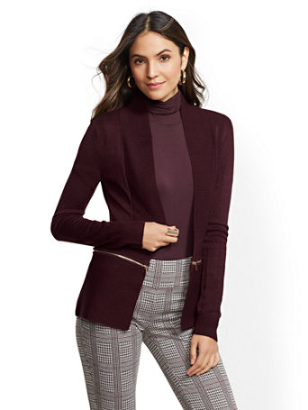 7th Avenue   Zip Accent Cardigan by New York & Company
