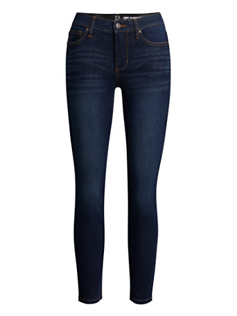 NY&Co Women's Abby Mid-Rise Slimming No Gap Super-Skinny Ankle Jeans - Dark Wash Pants