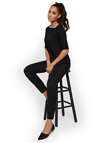 NY&Co Women's Audrey Ankle Pants - Solid Black