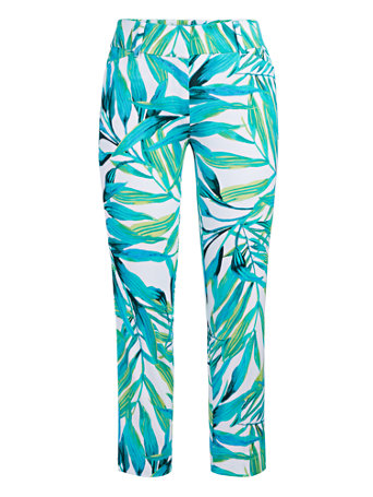 NY&Co Women's Audrey Capri Slim-Leg Pants - Palm Print
