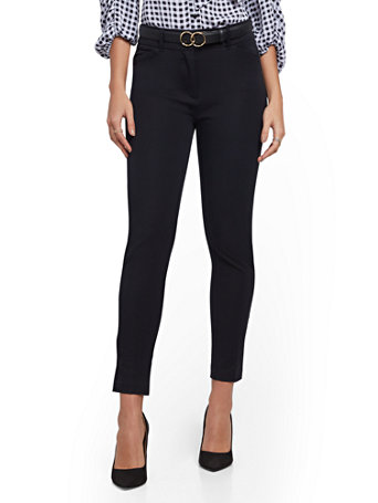 NY&Co Women's Audrey High-Waisted Ankle Pants Black