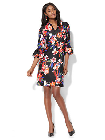 Nyc Balloon Sleeve Shift Dress Black Floral Petite