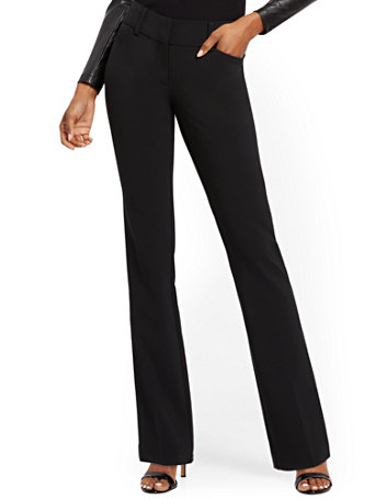 NY&Co Women's Barely Bootcut Pants - Mid Rise - Double Stretch Black