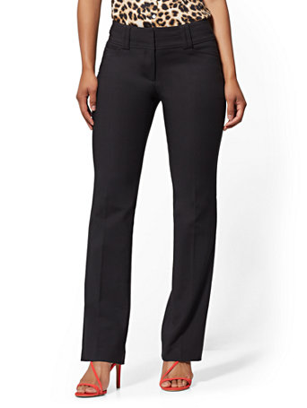 NY&Co Women's Barely Bootcut Pants - Modern - All-Season Stretch - 7th Avenue Black