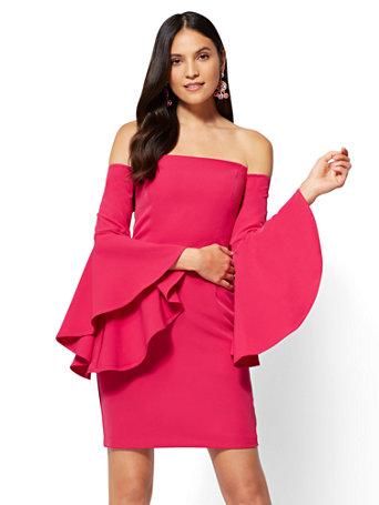 d2bb2d4b6346 NY&C: Bell-Sleeve Off-The-Shoulder Sheath Dress