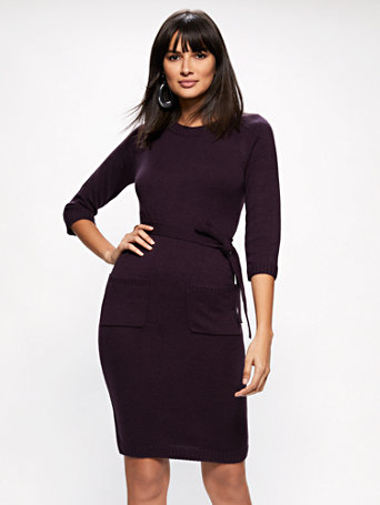 Belted Scoopneck Sweater Dress