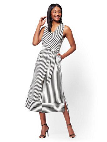 a41f551eda9 NY C  Belted Wide-Leg Jumpsuit - Black   White Stripe