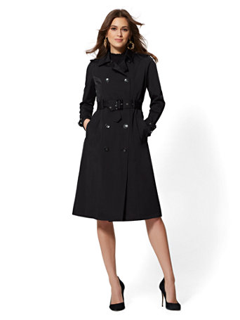 Black Belted Trench Coat by New York & Company