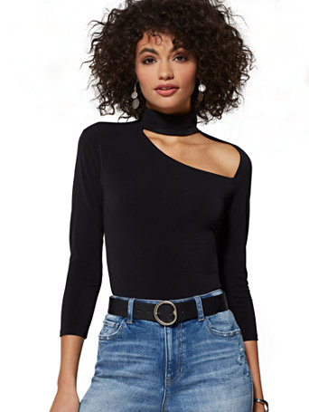Black Cutout Mock Neck Top by New York & Company