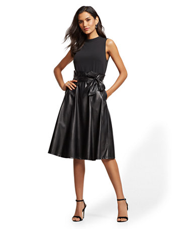 nyc black fauxleather fit and flare dress  7th avenue