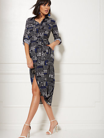 Black Newsprint Belted Shirtdress by New York & Company